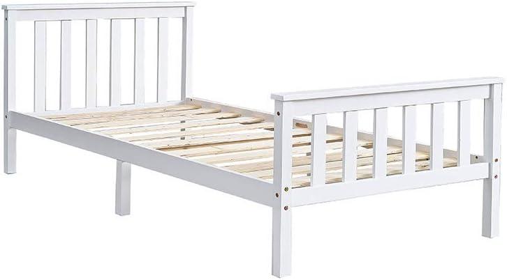 Massivholz-Bettgestell stabiles Bettgestell 196 x 98 x 82 cm Schlafzimmer-M/öbel f/ür Erwachsene Jugendliche Kinder Einzelbett