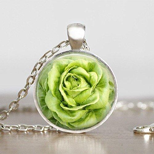 Bronze Cabbage Rose - Lettuce Rose Vegetarian Pendant Handmade Necklace