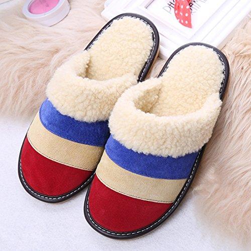 Ladies Casual lana Zapatillas Interior Antideslizante caliente Zapatillas de color a juego, 2, Pequeño