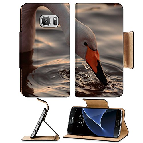 msd-premium-samsung-galaxy-s7-flip-pu-leather-wallet-case-a-closeup-portrait-of-whooper-swan-drinkin