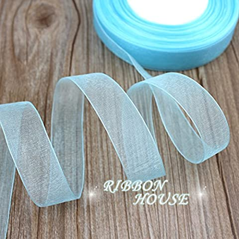 FunnyPicker (50 Yards/Roll) 3/4''(20Mm) Sky Blue Organza Ribbons Gift Wrapping Decoration Christmas Ribbons