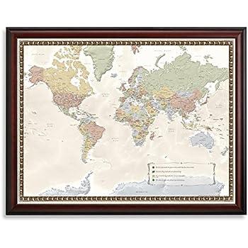 Amazon executive world push pin travel map with black frame world travel map gumiabroncs Choice Image