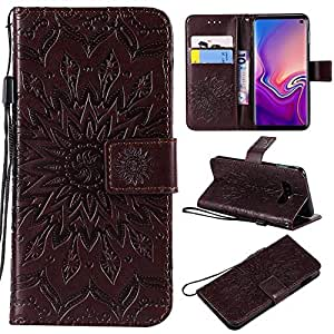 Protective Case Compatible with Samsung Sunflower Printing Design PU Leather Flip Wallet Lanyard Protective Case with Bracket Card Slot Compatible Samsung Galaxy S10 Lite Phone case (Color : Brown)