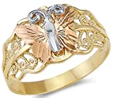 Size- 9 - 14k Yellow White Rose Three Color Gold Butterfly Ring