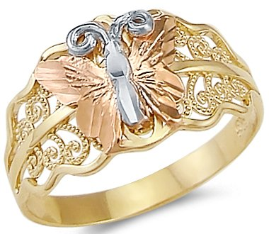 (Sonia Jewels Size- 10-14k Yellow White Rose Three Color Gold Butterfly Ring)