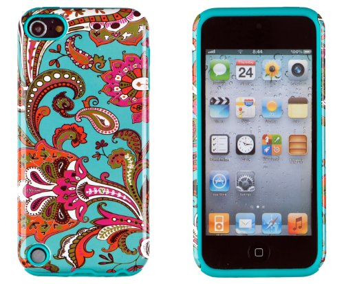 DandyCase 2in1 Hybrid High Impact Hard Vintage Floral Pattern + Teal Silicone Case Cover For Apple iPod Touch 5 5G (5th generation) + DandyCase Screen Cleaner