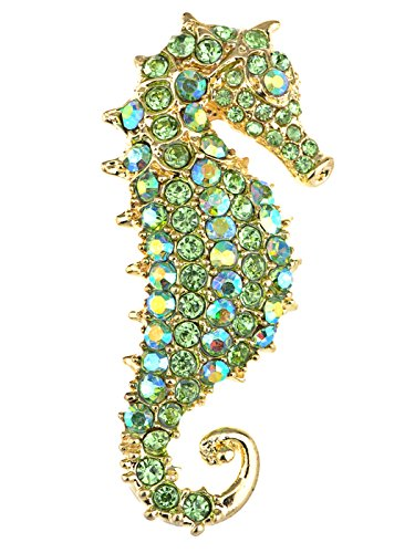 Alilang Aurora Borealis Crystal Rhinestone Seahorse Fish Convertible to Pendant Animal Brooch Pin, Green ()