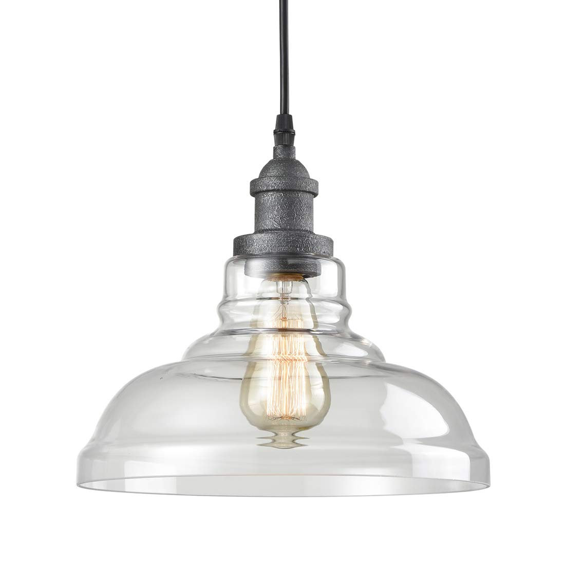 AXILAND Barn Rustic Pendant Lighting Clear Glass Hanging Light for Kitchen Island