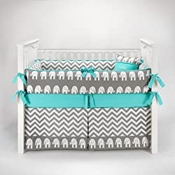 Elephant Chevron Zig Zag Gray & Turquoise Baby Bedding - 5pc Crib Set by Sofia Bedding Boy or girl - unisex