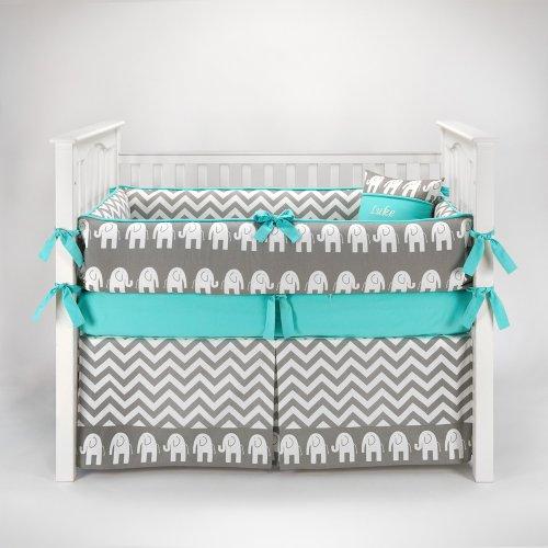 Elephant Chevron Zig Zag Gray & Turquoise Baby Bedding - 5pc Crib Set by Sofia Bedding