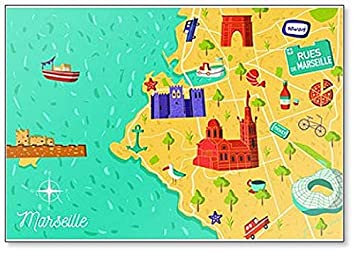 Marseille On Map Of France.Cartoon Style France Marseille Map Classic Fridge Magnet Amazon Ca