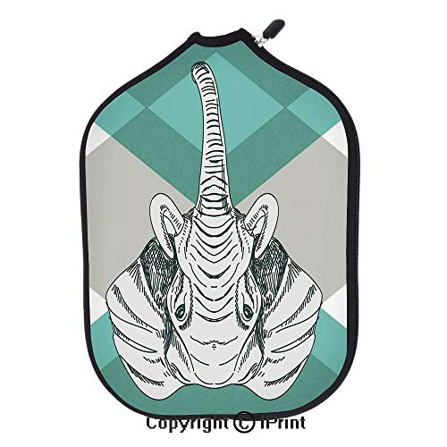 Lightweight Neoprene Single Pickleball Paddle Cover,Contemporary Image of Elephant Head with Minimalist Print Boho Style Modern Home Decor(Size:8.23