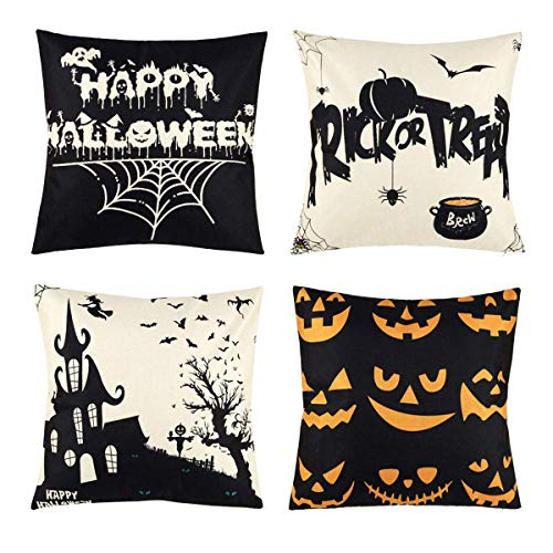 Happy Halloween Pumpkins White (NewZhu Set of 4 Happy Halloween Black and White Throw Pillow Covers Pumpkin Pillow Case Spider Web Witch Pillow Cushion Cover Decorative for Halloween Home Car Sofa Bed Couch, 18)