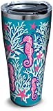 Tervis 1261332 Seahorse & Starfish Pattern Stainless Steel Tumbler with Clear and Black Hammer Lid 30oz, Silver