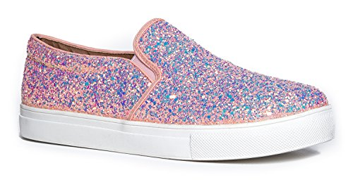 J. Adams Round Toe Slip On Sneaker - Adorable Cushioned Glitter Shoe - Easy Everyday Fashion - Glimmer -