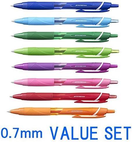 Bolígrafos retráctiles de punta fina, de la marca Uni-ball Jetstream, con agarre de goma y punta de 0,7 mm; pack de 8 colores (azul, azul claro, verde, verde lima ...
