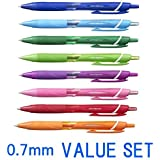 UNI-BALL Jetstream Extra Fine Point Stylos à bille rétractable, Type de prise en main -Rubber -0.7 mm-8 couleur ink-8 Stylos valeur Set (Bleu, ligit Bleu, Vert, Vert Anis, Orange, Rose, Rouge, Violet)