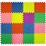 16 Piece Interlocking Puzzle Tile Exercise Soft Mat Child & Baby Room Safe Playmat Multi Color flooring Eva Foam Play Exercise Yoga Pilates Babies Toddler infant Soft Play Area