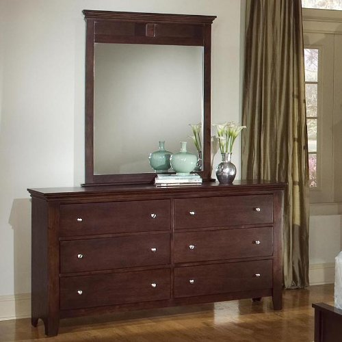 (Roundhill Furniture Le Charmel Wood Fully Assembled Dresser and Mirror, Cherry Finish)