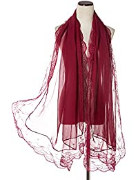 Women Lace Scarf Lightweight Shawl,Saferin Soft Contracted Style Both Ends Floral Lace Soft Scarf Spring Shawl