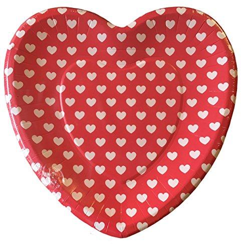 Lady Jayne 16 ct Heart Shaped Dessert Paper Plates, Heart Dots (Heart Shaped Dessert Plates)