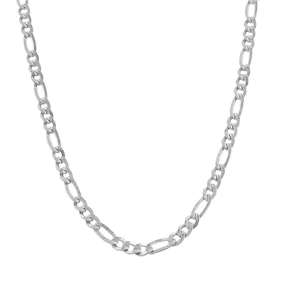 14k White Gold Figaro 100 4.50MM 10'' Anklet