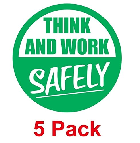 "5-PC Preeminent Popular Think and Work Safely Vinyl Sticker Windows Decals Self-Adhesive Easy to Install Size 2"" Color Green and White"