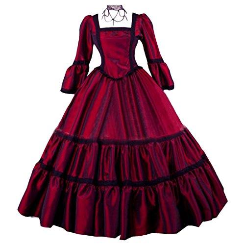 Costume Ball Gowns Cheap (Partiss Womens Red Taffeta Simple Victorian Ball Gowns,XS,Red)