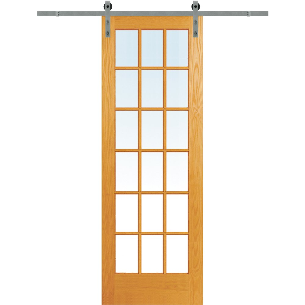 National Door Company Z020137 Unfinished Pine Wood 18 Lite True Divided Clear Glass, 30'' x 96'', Barn Door Unit