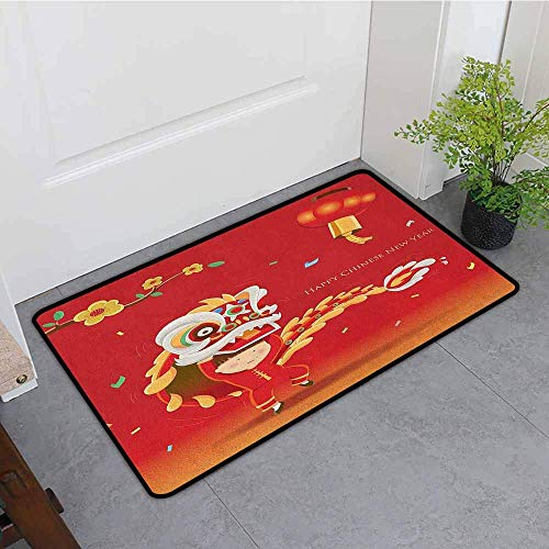 Chinese New Year Lion Dance Costumes - YGUII Crystal Velvet Doormat,Chinese New Year