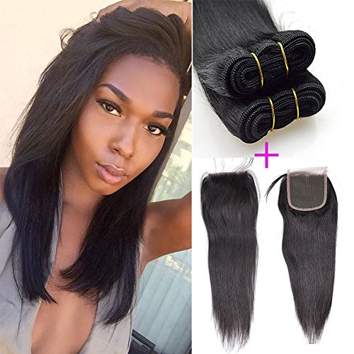 Cheap Brazilian Straight Hair Weaves With Lace Closure Virgin Remy Hair Natural Color 100% Virgin Human Hair Bundles and Closure 12 12 12+10″closure