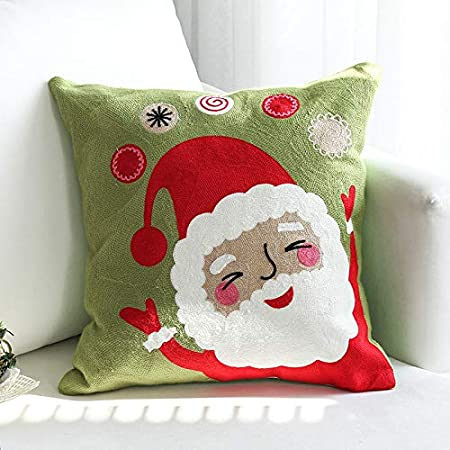 Image ofLLWYH Fundas De Cojín Decorativas Sofá De Navidad Bordado Decorado Funda De Almohada Cuadrada 45X45Cm (Sin Núcleo De Almohada) F
