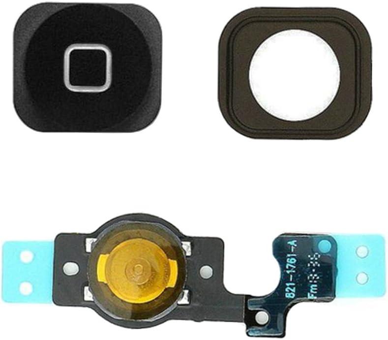 Johncase Home Button Flex Ribbon Cable Assembly w/Rubber Gasket Replacement Part Compatible iPhone 5C (Black)