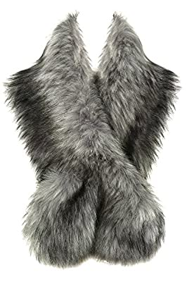 "BABEYOND Womens Faux Fur Collar Shawl Faux Fur Scarf Wrap for Winter Coat 47.2"""