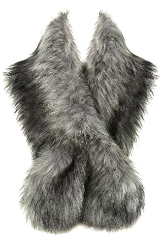 BABEYOND Women's Faux Fake Fur Collar Shawl Faux Fur Scarf Wrap for Winter Coat 1920s Flapper Outfit (Gray) ()