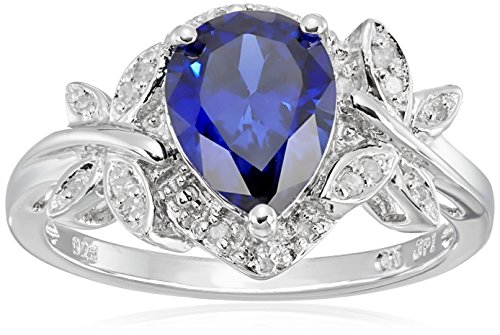 Sterling Silver Created Gemstone And Diamond Dragonfly Ring (1/14 Cttw, I-J Color, I2-I3 Clarity)