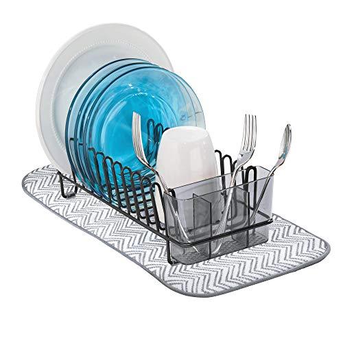 mDesign Compact Modern Metal Dish Drying Rack and Microfiber