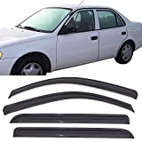 Automotive : Window Visors Fits 1998-2002 Toyota Corolla | Dark Smoke Car Rain Sun Window Shade Guard Visor Smoke by IKON MOTORSPORTS| 1999 2000 2001