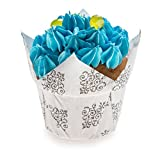 Panificio Premium 1.2-oz Baking Cups: Regular-Petal Paper Baking Cups Perfect for Muffins, Cupcakes or Mini Snacks – Vintage Floral Design – Disposable and Recyclable – 200-CT