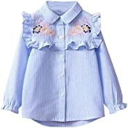 LNGRY Children's Baby Girls Kids Toddler Stripe Embroidery Floral Shirt Bl