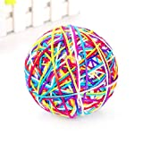 USHOT Cat Toy Yarn Ball, Pet Cat Toy Colorful Handmade Bells Bouncy Ball Built-in Catnip Interactive Toy