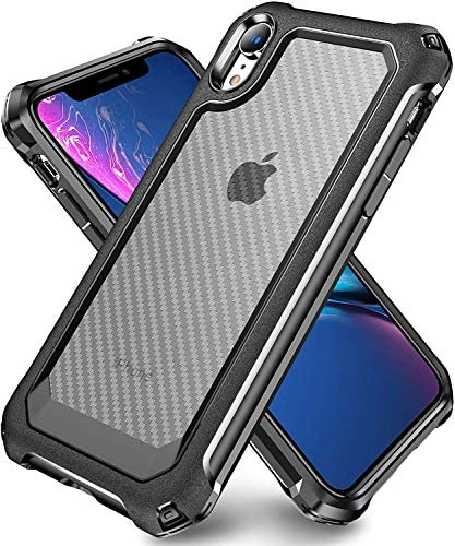 iPhone XR Case with [ Screen Protector Tempered Glass x2Pack] SUPBEC Protective Phone Cover with Silicone PC+TPU Shockproof Rubber Heavy Duty Case for iPhone XR Cases-Clear Black