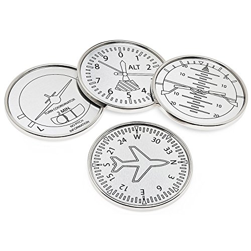 Set Of Four Airplane Instrument Coasters, Elegant Classic Silver Art Aviation Drink (Tavern Coasters)