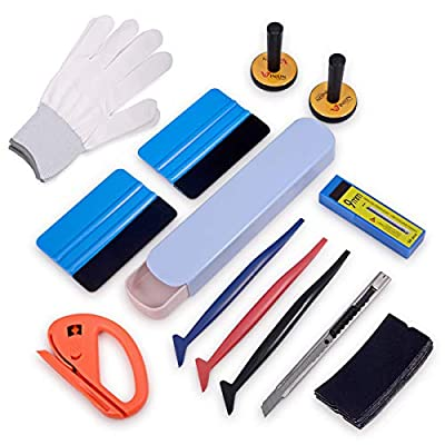 Auto Window Tint Film Tool Kits Include Vinyl Wrap Felt Squeegees with Spare Fabric Felts, Micro Squeegees, Vinyl Graphic Magnet Holders, Gloves, Cutter Knife, Utility Knife and Blades: Automotive