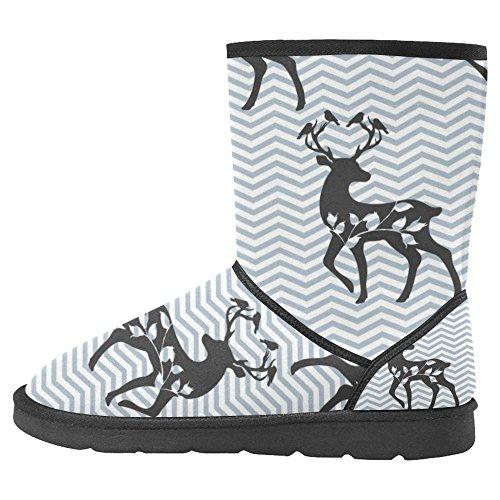 Botas De Nieve Para Mujeres Interestprint Botas De Invierno Con Diseño Único Comfort Chevron Blue Con Ciervos Multi 1