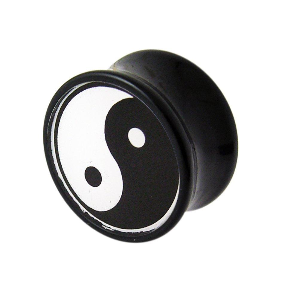 24MM Yin Yang Logo Black UV Double Flared Ear Plug Body jewelry