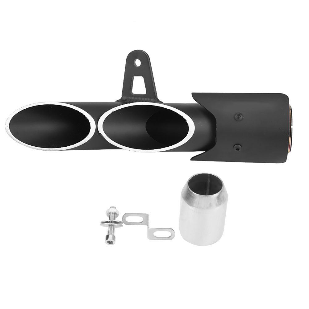 Acouto Stainless Steel 51mm/2'' Dual-Outlet Exhaust Muffer Pipe for Yamaha YZF-R6 Suzuki GSX-R