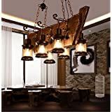 Y-ZH.Retro bar LOFT industrial wind Continental and Pastoral style rustic wood chandelier Creative and elegant residential lamp personality and old ship wooden wood chandelier