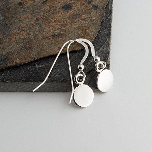 6mm Drop Earrings, Shine Silver Earrings, Tiny Earrings, Modern Jewelry, Round Disc Earrings, Minimalist Earrings, Handmade ()