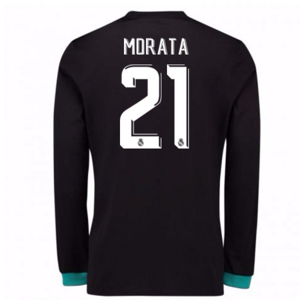 2017-18 Real Madrid Away Long Sleeve Shirt Kids (Morata 21) B077VK1V3WBlack Large Boys 30-32\